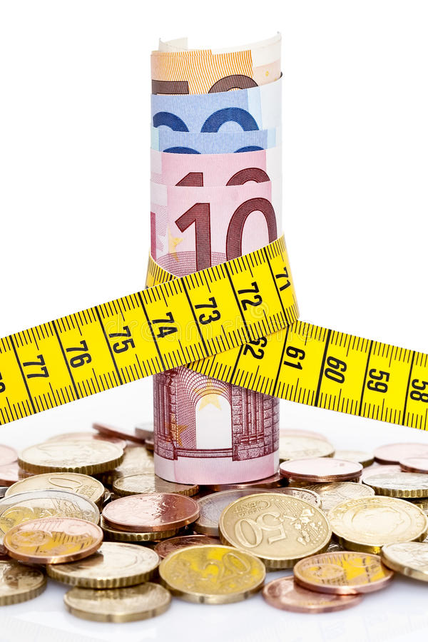 Euros and tape measure royalty free stock images