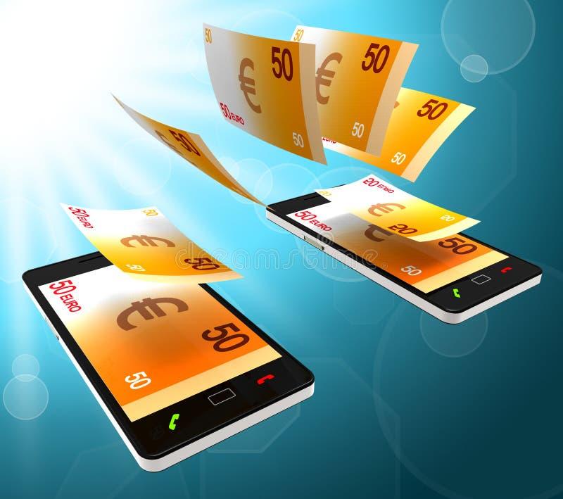 Euros Transfer Means Finance Cash e soldi illustrazione di stock