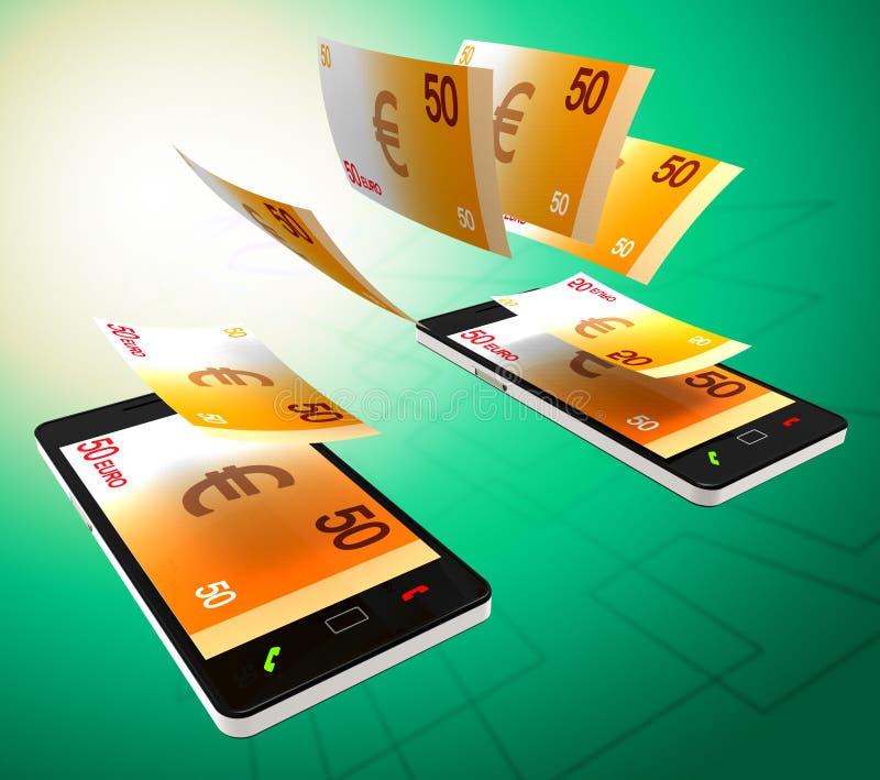 Euros Transfer Represents Cellphone Money und Bankwesen lizenzfreie abbildung