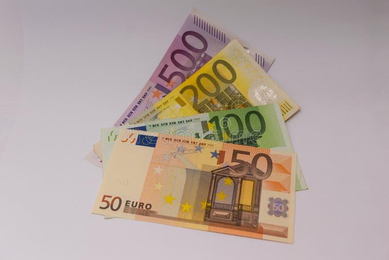 50 euros, 100 euros, 200 euros y 500 billetes de banco euro imagen de archivo libre de regalías