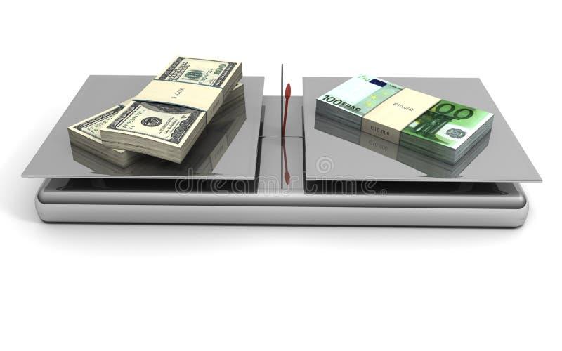 Euros y dólares de balance del dinero en circulación stock de ilustración