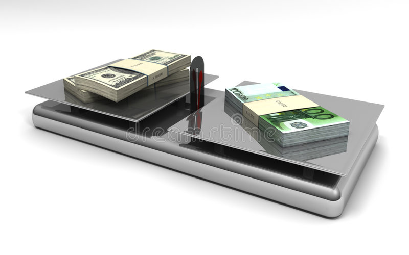 Euros y dólares de balance del dinero en circulación libre illustration