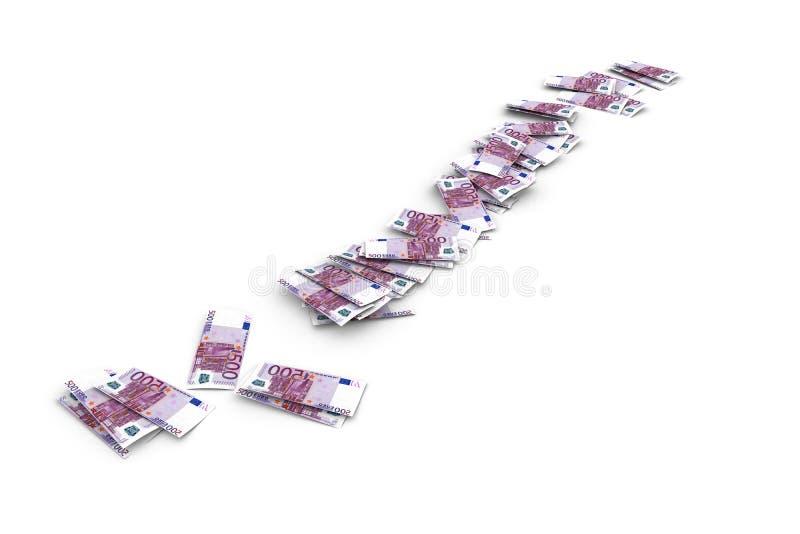 Eurosedelflyg och tappa på vit vektor illustrationer