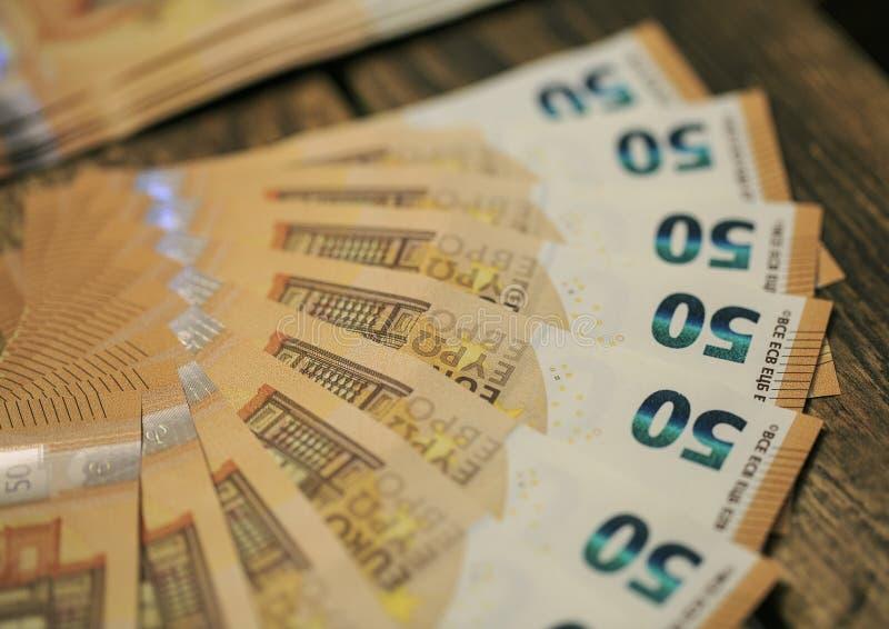 50 eurosedlar arkivbild