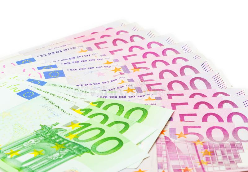 Eurosedlar, femhundra och hundra arkivbild