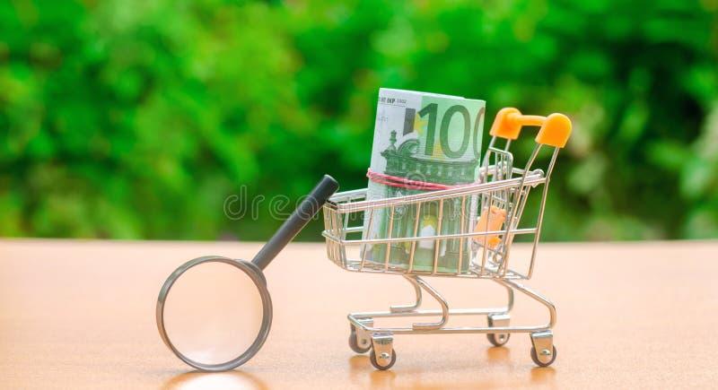 Eurosedlar i en shoppa spårvagn och förstoringsglas Begreppet av att finna k?llor av investeringen och sponsorer Finna pengar royaltyfri fotografi