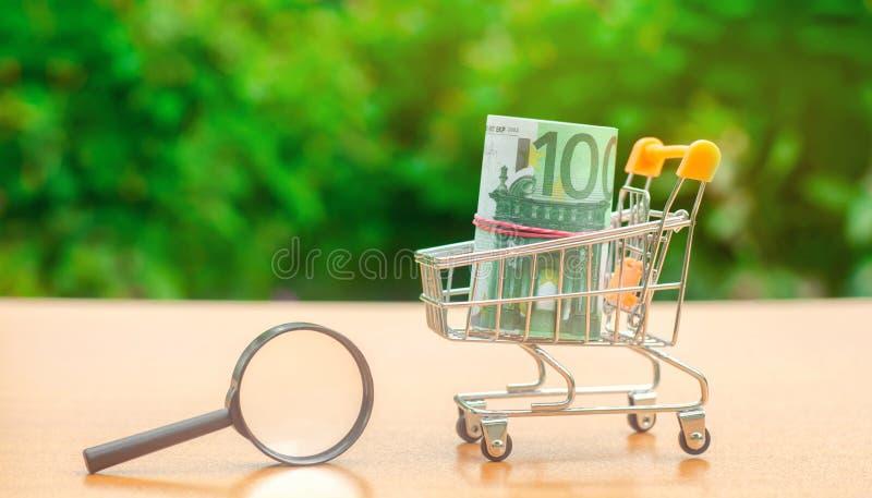 Eurosedlar i en shoppa spårvagn och förstoringsglas Begreppet av att finna k?llor av investeringen och sponsorer Finna pengar fotografering för bildbyråer
