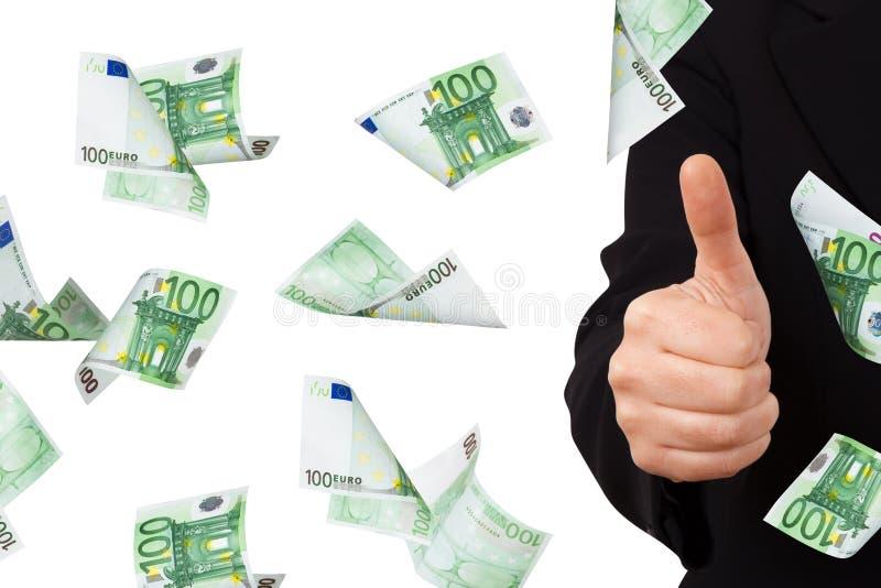 Eurosedlar med bekräftelsetecknet av affärskvinnan royaltyfri fotografi