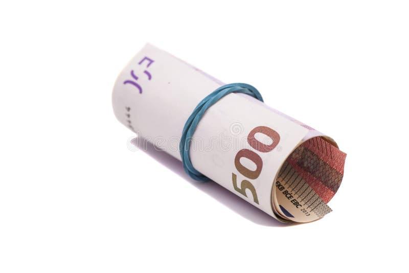 Eurosedlar under gummiband royaltyfria bilder