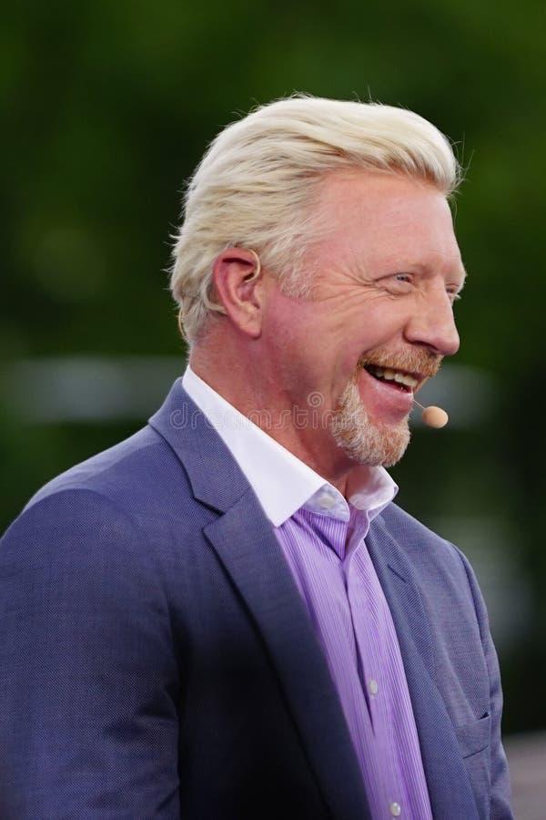 Eurosport analityka wielkiego szlema mistrz Boris Becker komentuje tenisa dopasowanie podczas 2018 us open obraz royalty free