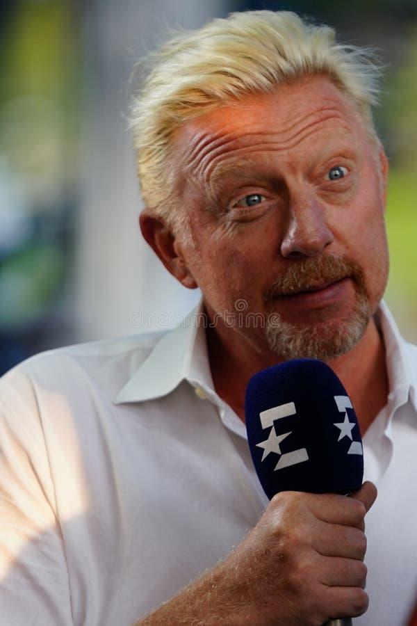 Eurosport analityka wielkiego szlema mistrza Boris Becker zachowań wywiad podczas 2018 us open obrazy royalty free