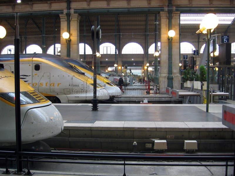 Eurostar en Gare du Nord coloca París Francia fotografía de archivo libre de regalías