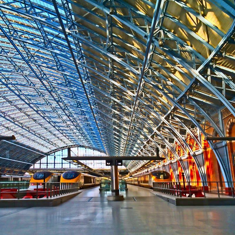 Eurostar posterar St Pancras London royaltyfria foton