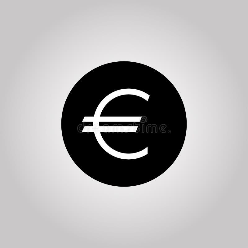 Eurosymbolvaluta på en grå bakgrund vektor stock illustrationer