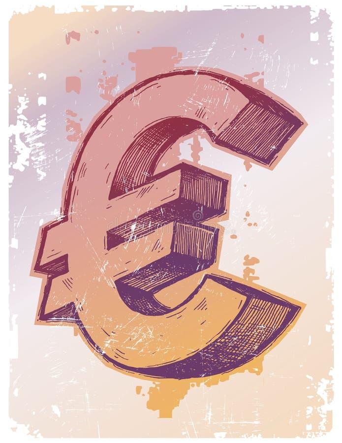 eurotecken royaltyfri illustrationer