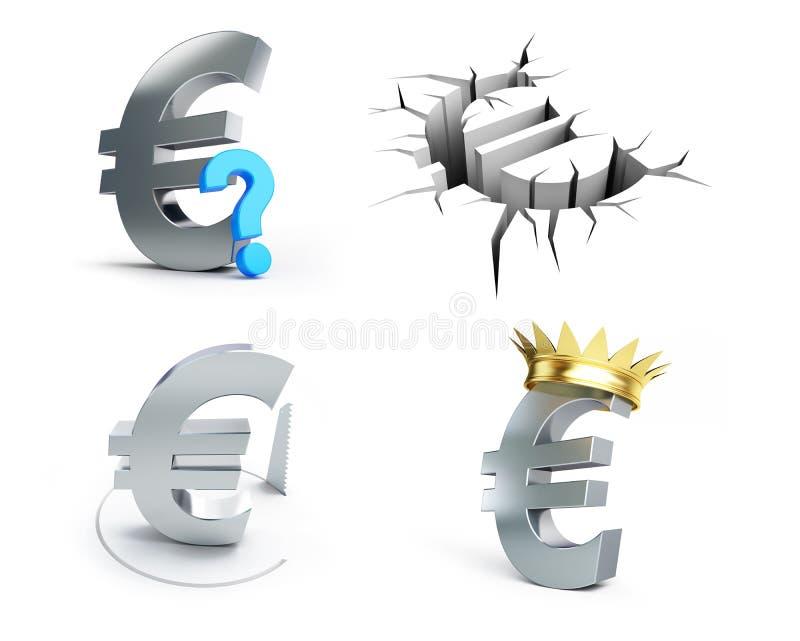 Euroteckenuppsättning på en vit bakgrund royaltyfri illustrationer