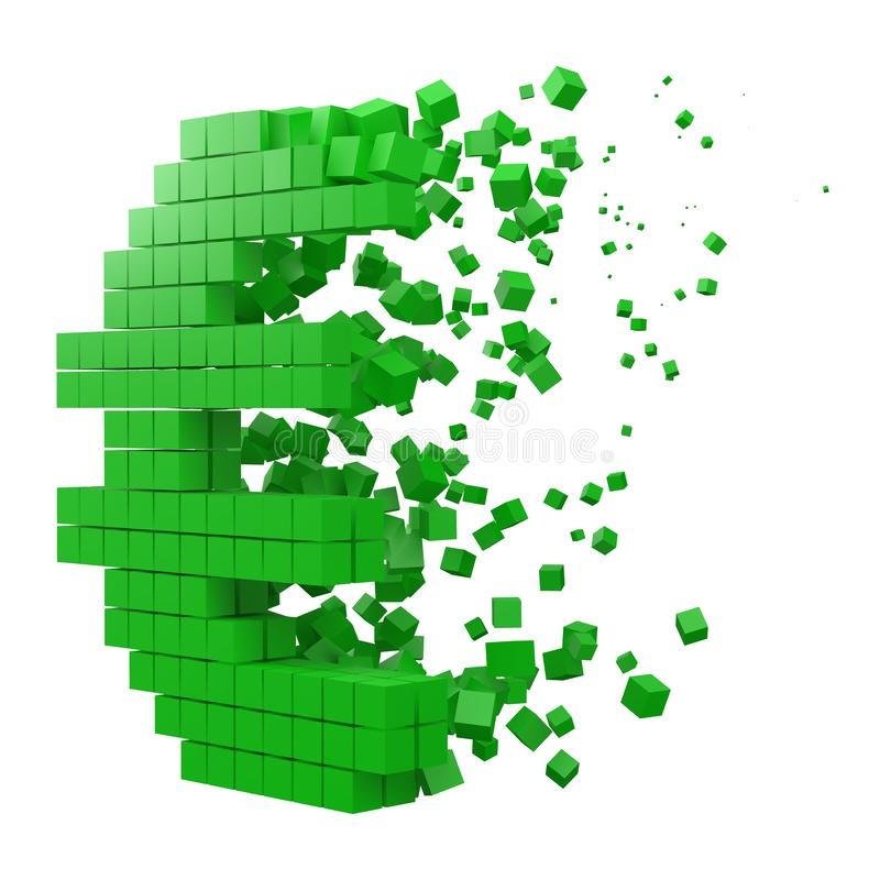 Eurotecknet formade datakvarteret version med gröna kuber f?r stilvektor f?r PIXEL 3d illustration royaltyfri illustrationer