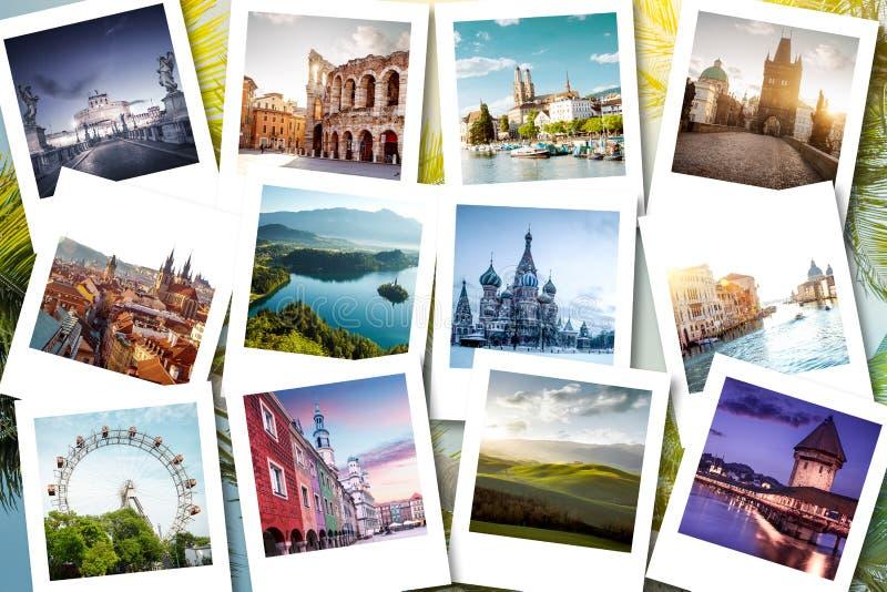 Eurotrip minnen som visas på polaroidfoto - sommarsemestrar arkivfoto