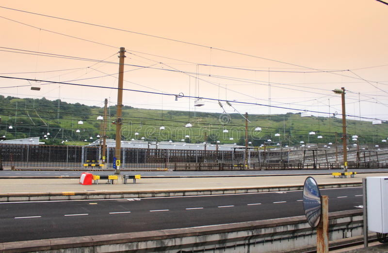 Eurotunnel Le Kursujący stacja obsługi zdjęcie royalty free