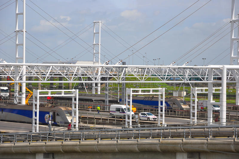 Eurotunnel train stock images