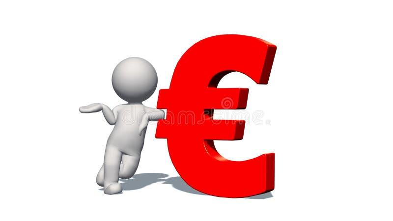 EUROvalutatecken - vit man 3D med det röda EUROtecknet royaltyfri illustrationer