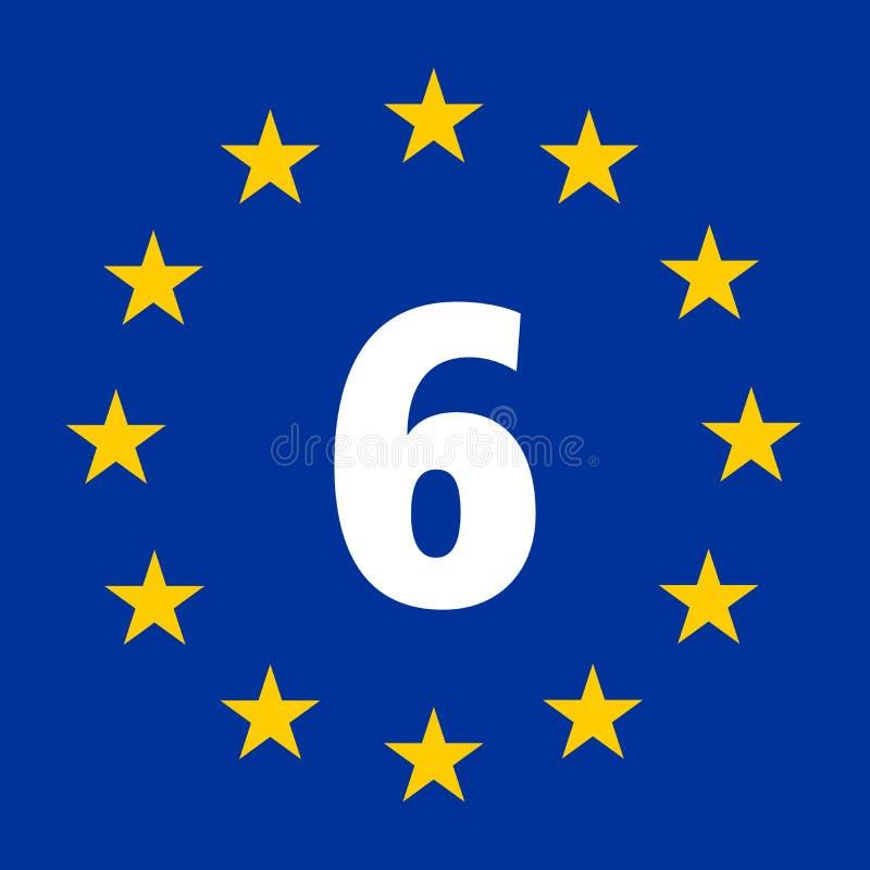 EuroVelo trasy 6 znak Atlantycka Czarna Denna trasa ilustracja wektor