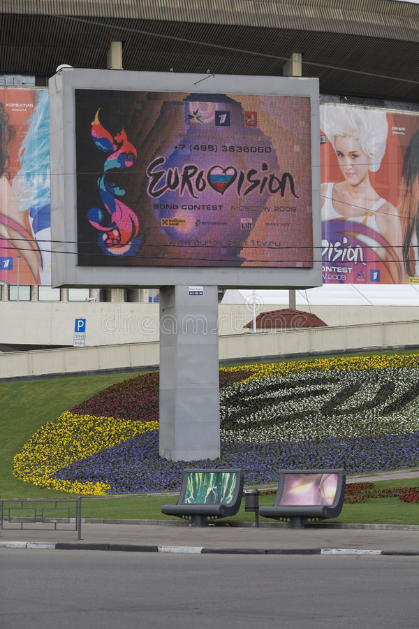 Eurovision advertisement. A view at eurovision advertisement TV tablo in Moscow near the place where the contest will start soon stock photography
