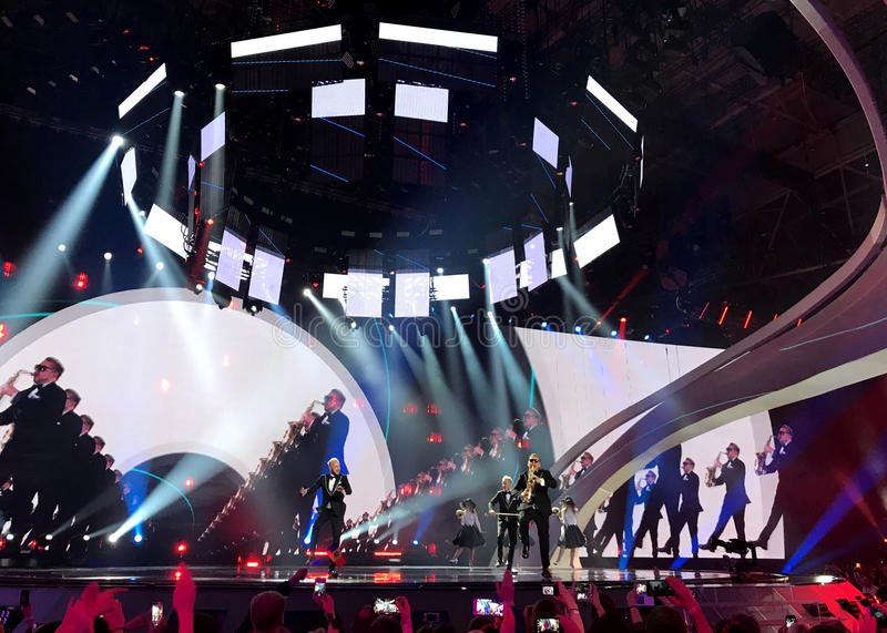 The Eurovision final day. Ukraine, Kyiv. 05.13.2017. Editorial. Joci Pápai from Hungary. Eurovision in Ukraine, Kyiv. 05.13.2017. Editorial. The Eurovision stock photos