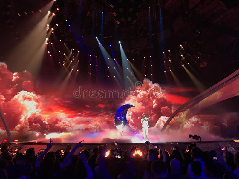 The Eurovision final day. Ukraine, Kyiv. 05.13.2017. Editorial. Nathan Trent from Austria. Eurovision in Ukraine, Kyiv. 05.13.2017. Editorial. The Eurovision stock photography