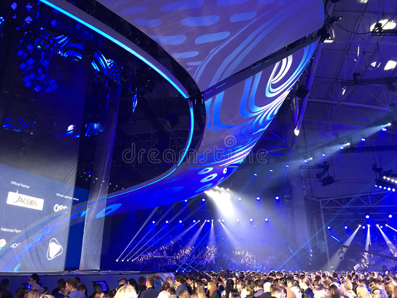 The Eurovision final day. Ukraine, Kyiv. 05.13.2017. Editorial. Stage of Eurovision. Eurovision in Ukraine, Kyiv. 05.13.2017. Editorial. The Eurovision final royalty free stock photography
