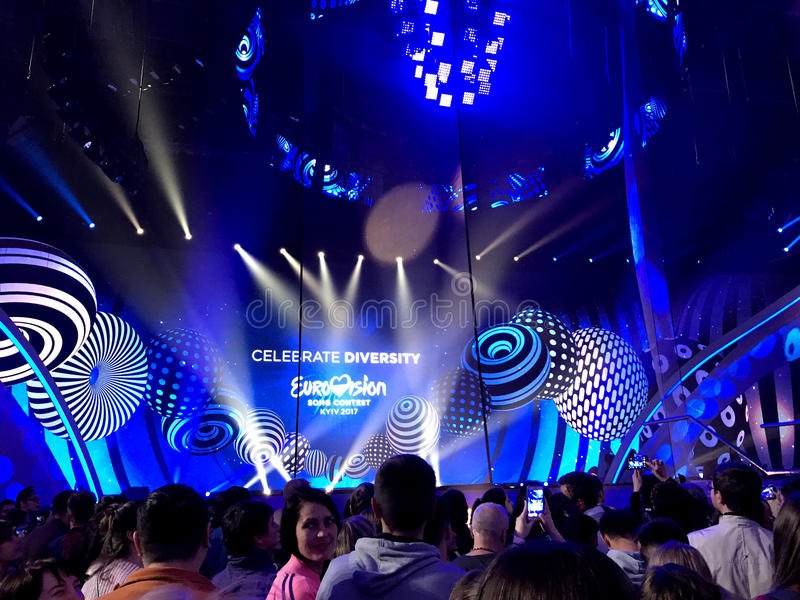 The Eurovision final day. Ukraine, Kyiv. 05.13.2017. Editorial. Stage of Eurovision. Eurovision in Ukraine, Kyiv. 05.13.2017. Editorial. The Eurovision final royalty free stock image