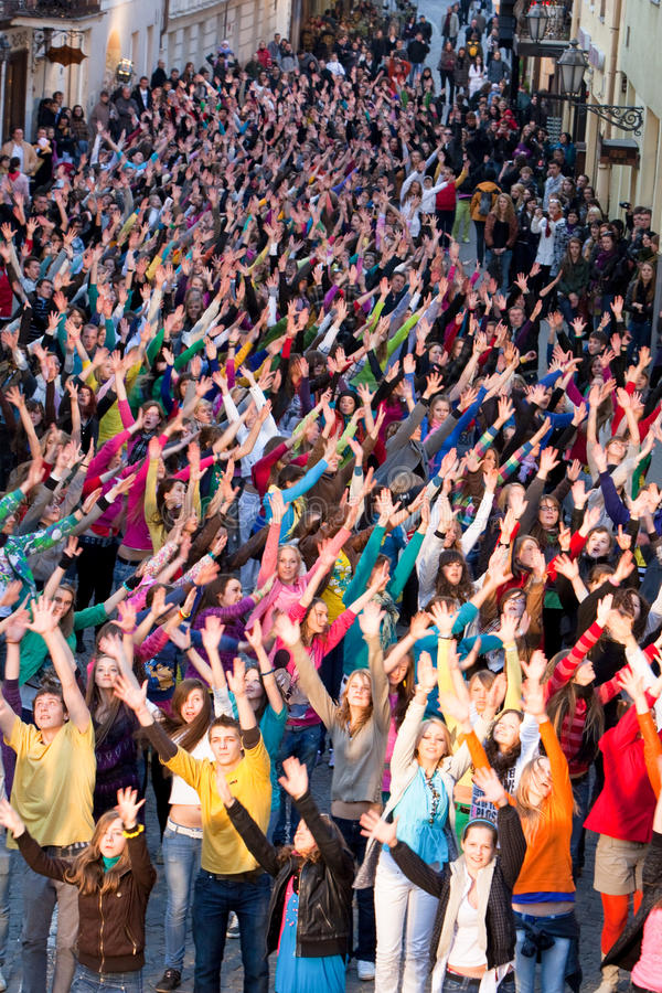 Eurovision flash mob dance moments royalty free stock photography