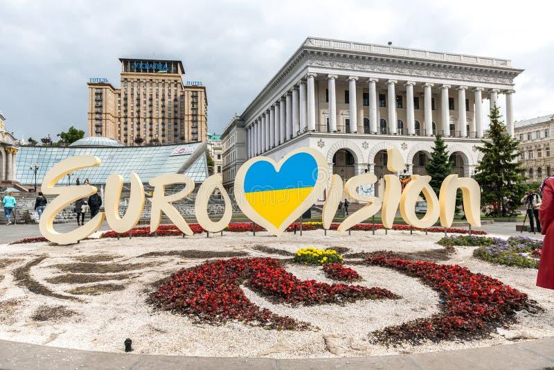 Eurovision 2017. Official logo of Eurovision Song Contest 2017 located on Maidan Nezalezhnosti. Kyiv - May 10: Eurovision 2017. Official logo of Eurovision Song royalty free stock photography