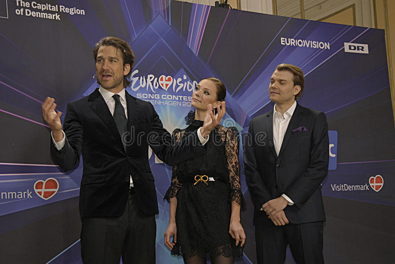 EUROVISION SONG CONTEST 2014. COPENHAGEN /DENMARK- 04 February 2014 _Danish radion national broadcasting unveils today Eurovision song contest 2014 hosts stock image