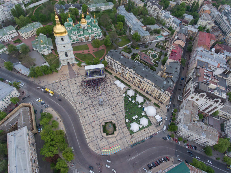 Eurovision song contest fan zone. KYIV, UKRAINE - APRIL 30, 2017: Aerial view of Eurovision song contest fan zone on Sofiivska Square in Kyiv, Ukraine stock images