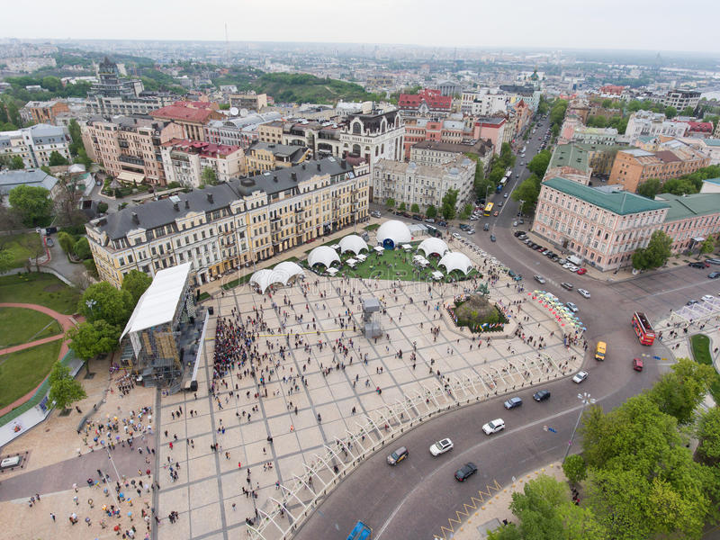 Eurovision song contest fan zone. KYIV, UKRAINE - APRIL 30, 2017: Aerial view of Eurovision song contest fan zone on Sofiivska Square in Kyiv, Ukraine royalty free stock photography