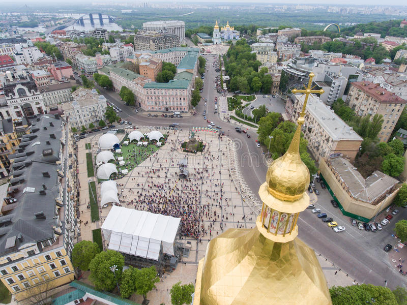Eurovision song contest fan zone. KYIV, UKRAINE - APRIL 30, 2017: Aerial view of Eurovision song contest fan zone on Sofiivska Square in Kyiv, Ukraine stock photography