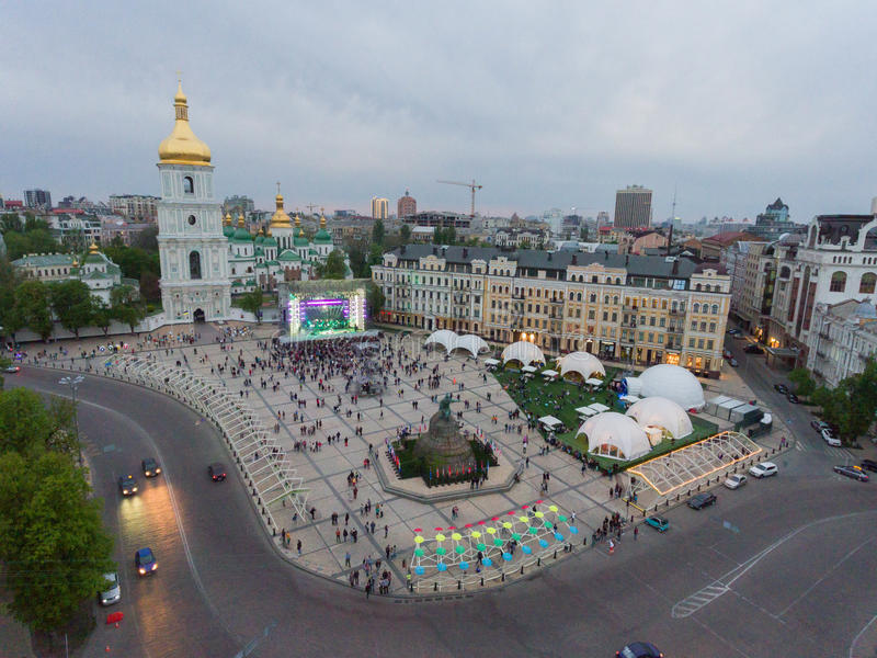 Eurovision song contest fan zone. KYIV, UKRAINE - APRIL 30, 2017: Aerial view of Eurovision song contest fan zone on Sofiivska Square in Kyiv, Ukraine royalty free stock images