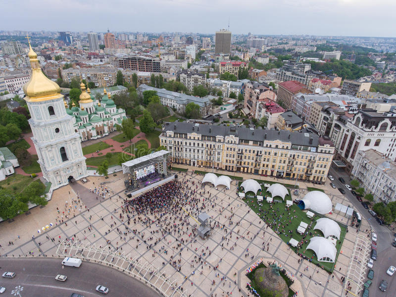 Eurovision song contest fan zone. KYIV, UKRAINE - APRIL 30, 2017: Aerial view of Eurovision song contest fan zone on Sofiivska Square in Kyiv, Ukraine royalty free stock photo