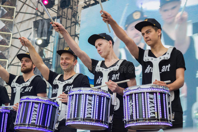 Eurovision song contest fan zone. KYIV, UKRAINE - APRIL 30, 2017: Drummers on stage of Eurovision song contest fan zone on Sofiivska Square in Kyiv, Ukraine stock image