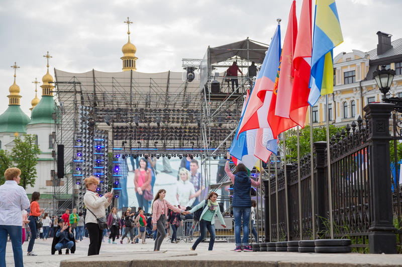 Eurovision song contest fan zone. KYIV, UKRAINE - APRIL 30, 2017: People on Sofiivska Square near Eurovision song contest fan zone in Kyiv, Ukraine royalty free stock photos