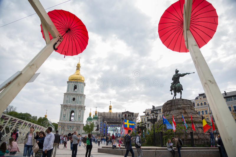 Eurovision song contest fan zone. KYIV, UKRAINE - APRIL 30, 2017: People on Sofiivska Square near Eurovision song contest fan zone in Kyiv, Ukraine royalty free stock photography