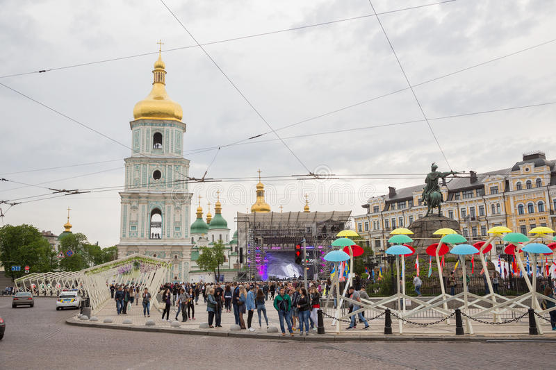Eurovision song contest fan zone. KYIV, UKRAINE - APRIL 30, 2017: People on Sofiivska Square near Eurovision song contest fan zone in Kyiv, Ukraine stock photo