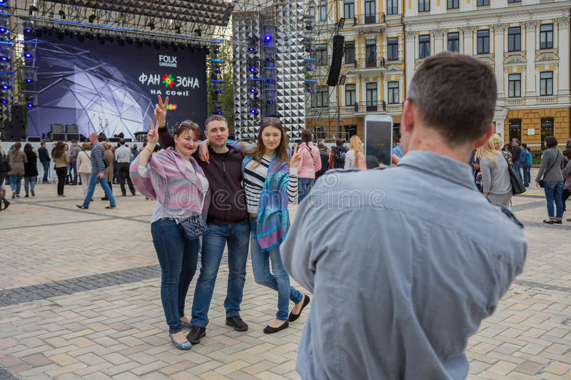 Eurovision song contest fan zone. KYIV, UKRAINE - APRIL 30, 2017: People on Sofiivska Square near Eurovision song contest fan zone in Kyiv, Ukraine stock images