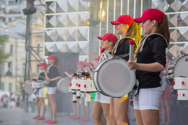 Eurovision song contest fan zone. KYIV, UKRAINE - APRIL 30, 2017: Young female drummers on stage of Eurovision song contest fan zone on Sofiivska Square in Kyiv royalty free stock photography