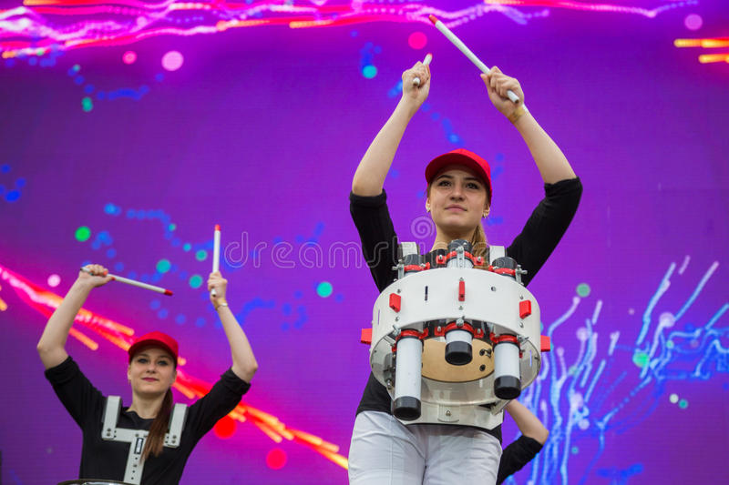 Eurovision song contest fan zone. KYIV, UKRAINE - APRIL 30, 2017: Young female drummers on stage of Eurovision song contest fan zone on Sofiivska Square in Kyiv stock photography