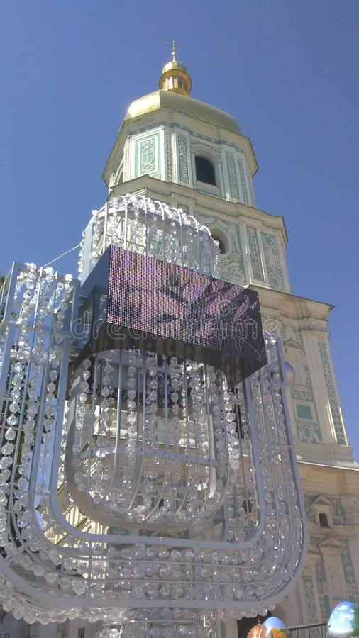 Eurovision 2017 Song Contest - Kiev, Ukraine. Crystal Symbol of Eurovision Song Contest 2017 in Kiev, Ukraine. Fan Zone at Sofiyivska Square stock images