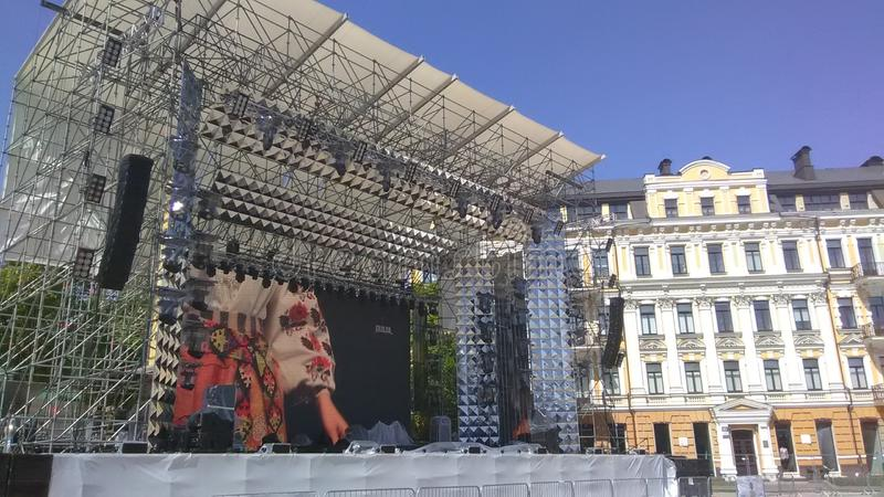Eurovision 2017 Song Contest - Kiev, Ukraine. Stage of Eurovision Song Contest 2017 in Kiev, Ukraine. Location: Fan Zone at Sofiyivska Square royalty free stock images