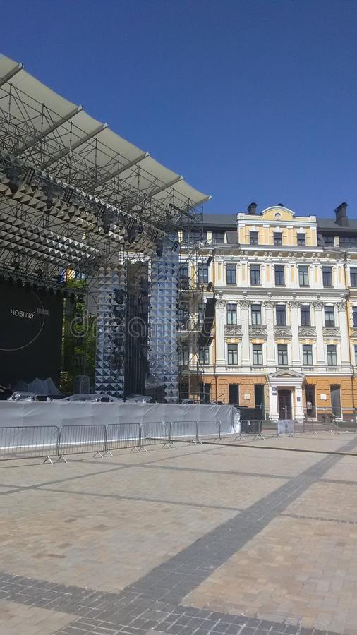Eurovision 2017 Song Contest - Kiev, Ukraine. Stage of Eurovision Song Contest 2017 in Kiev, Ukraine. Location: Fan Zone at Sofiyivska Square royalty free stock image