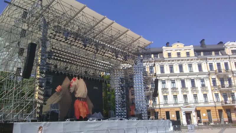 Eurovision 2017 Song Contest - Kiev, Ukraine. Stage of Eurovision Song Contest 2017 in Kiev, Ukraine. Location: Fan Zone at Sofiyivska Square stock photography